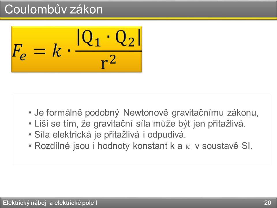 Coulombův zákon Je formálně podobný Newtonově gravitačnímu zákonu,