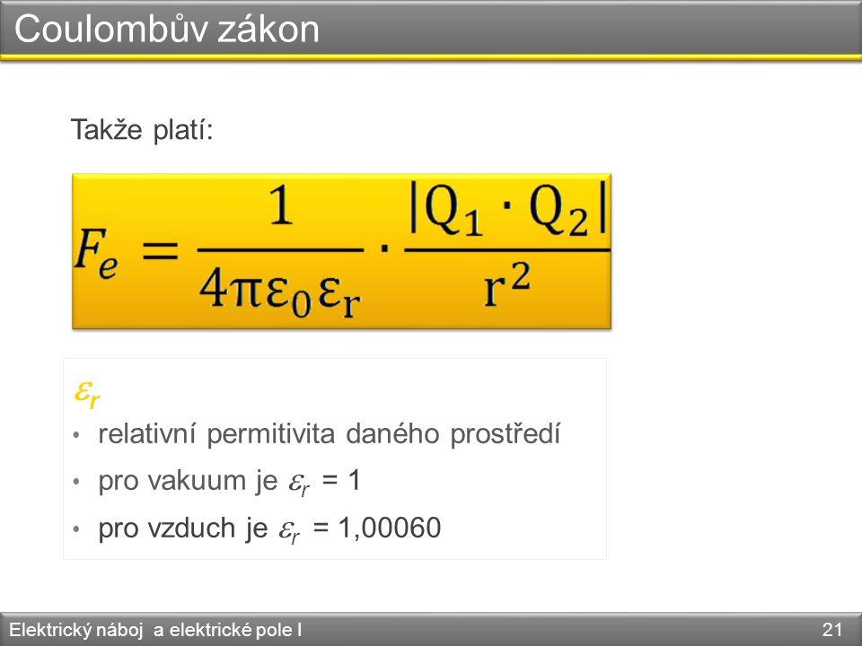 Coulombův zákon er Takže platí: relativní permitivita daného prostředí