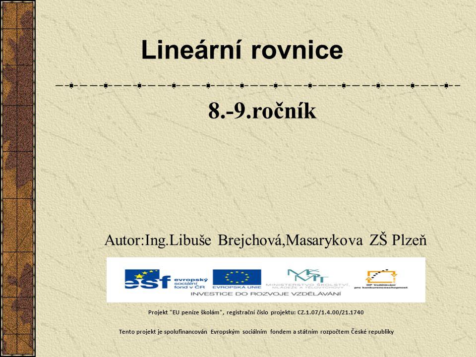 Lineární rovnice 8.-9.ročník