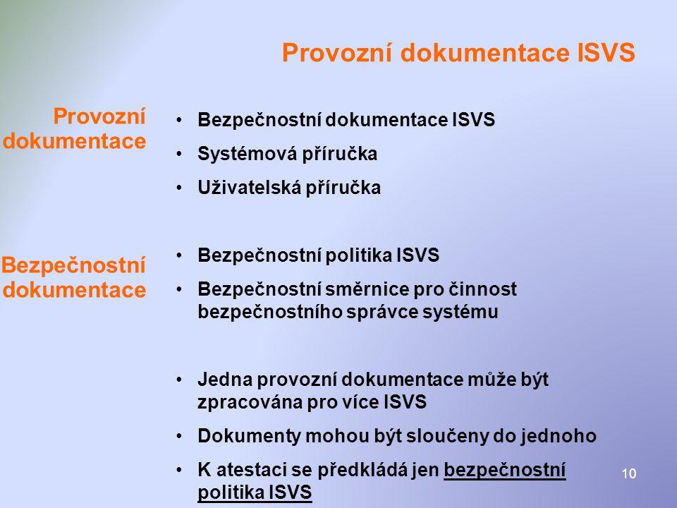 Provozní dokumentace ISVS