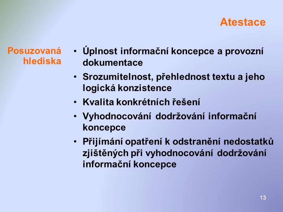 Atestace Úplnost informační koncepce a provozní dokumentace