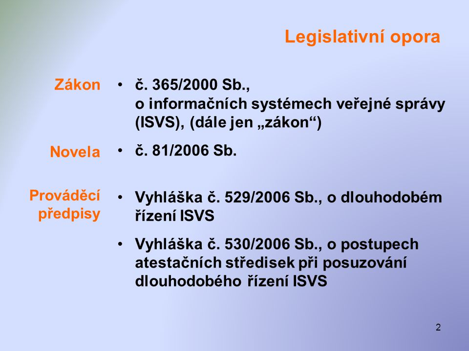 Legislativní opora Zákon Novela