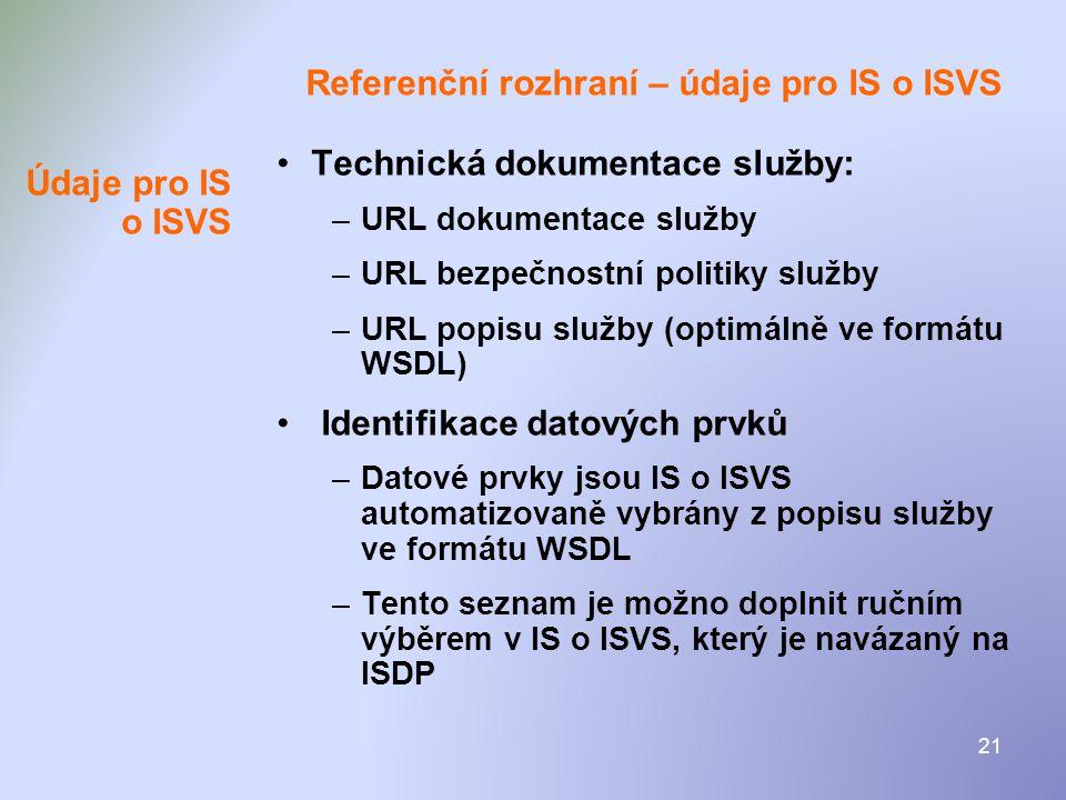 Referenční rozhraní – údaje pro IS o ISVS