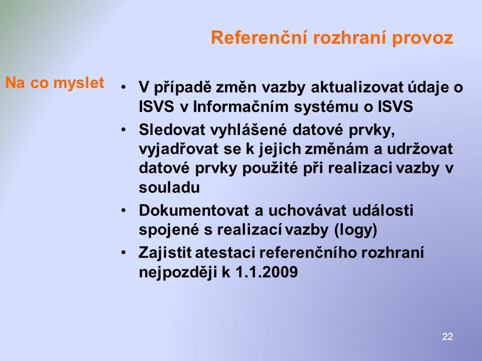 Referenční rozhraní provoz