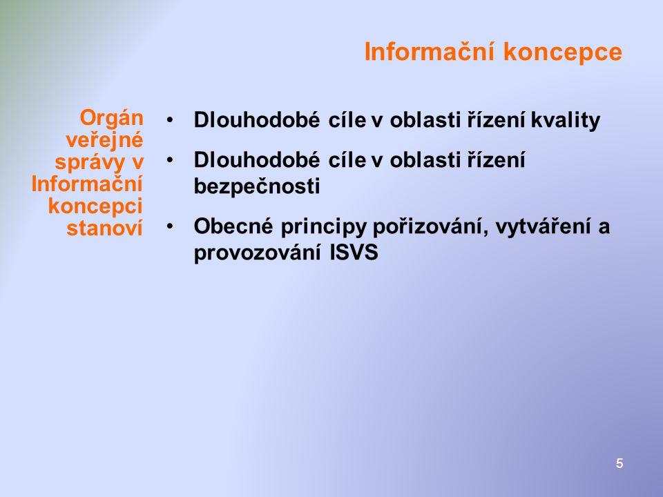 Informační koncepce Dlouhodobé cíle v oblasti řízení kvality