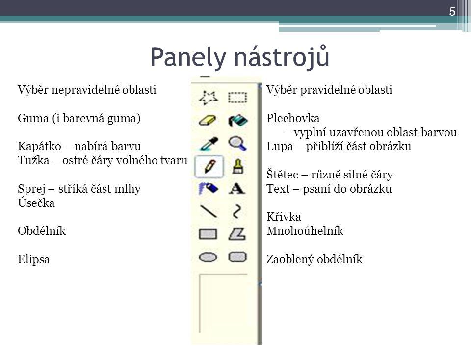 Panely nástrojů Výběr nepravidelné oblasti Guma (i barevná guma)