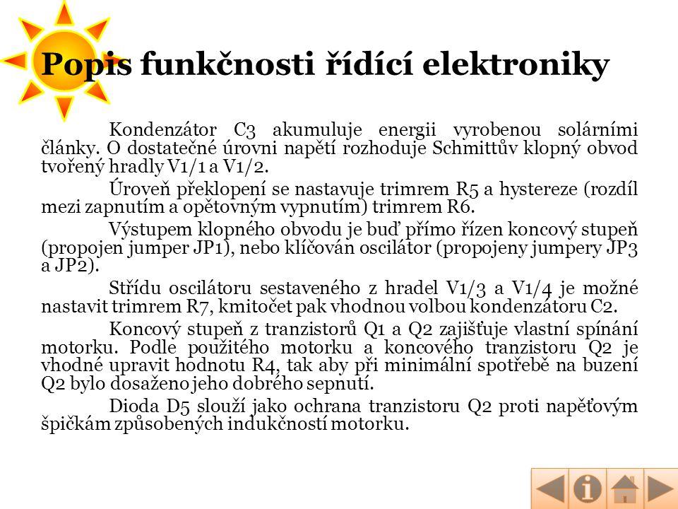Popis funkčnosti řídící elektroniky
