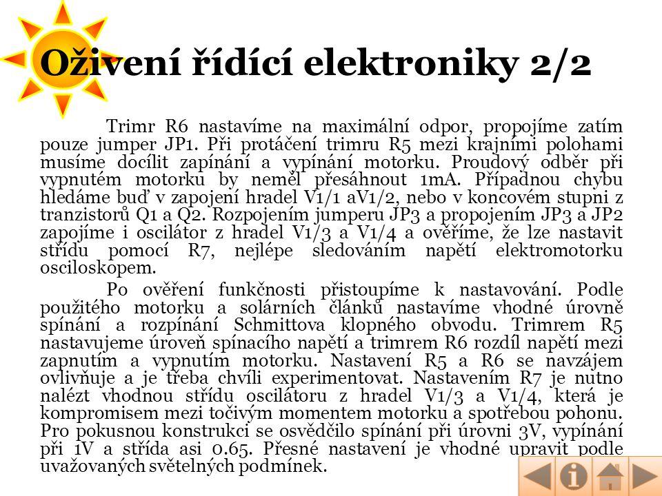 Oživení řídící elektroniky 2/2