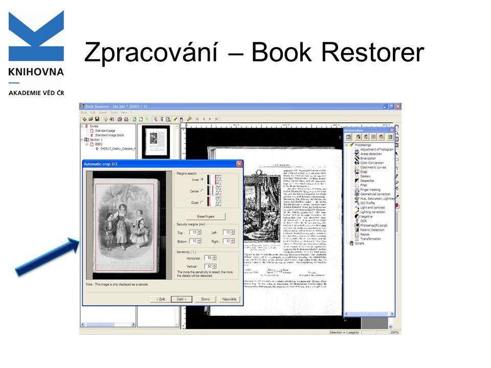 Zpracování – Book Restorer