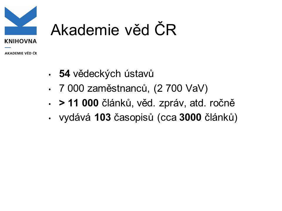 Akademie věd ČR 54 vědeckých ústavů 7 000 zaměstnanců, (2 700 VaV)