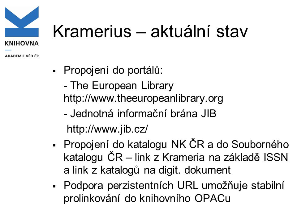 Kramerius – aktuální stav