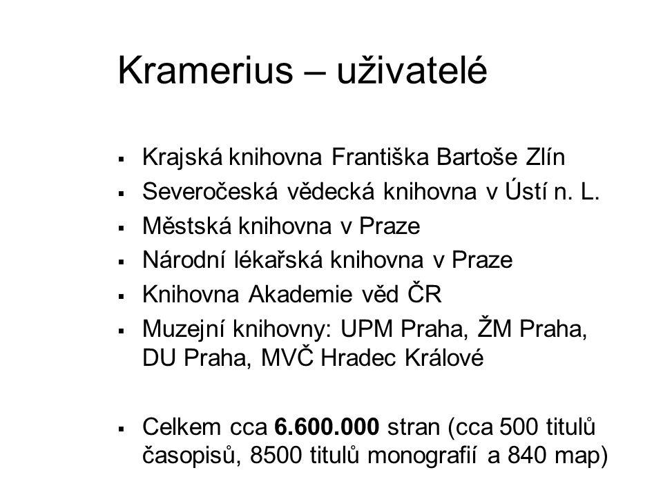 Kramerius – uživatelé Krajská knihovna Františka Bartoše Zlín