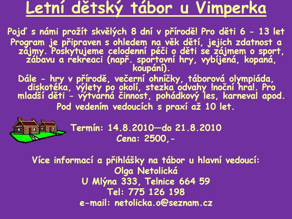 Letní dětský tábor u Vimperka