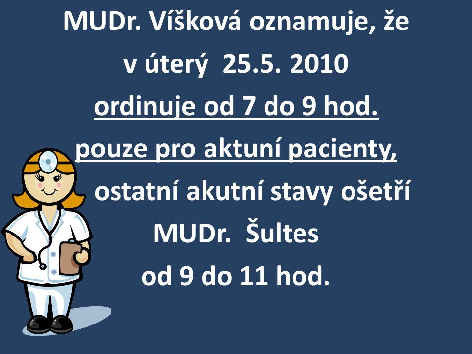 MUDr. Víšková oznamuje, že v úterý 25. 5. 2010 ordinuje od 7 do 9 hod