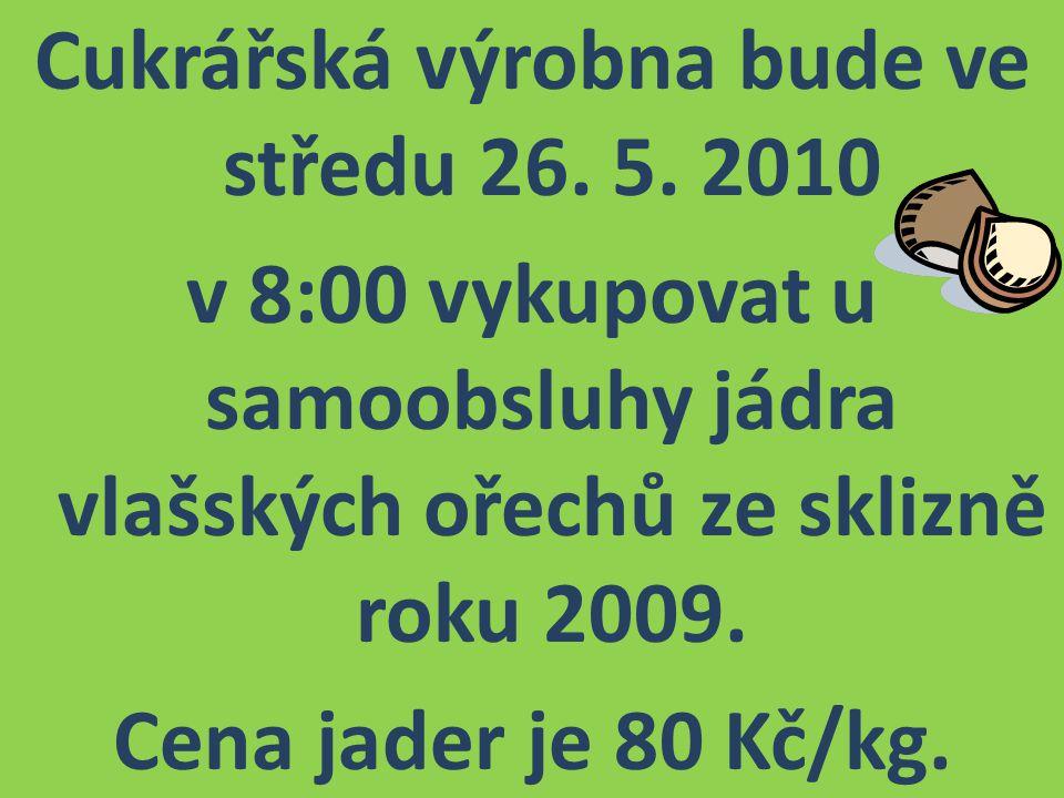 Cukrářská výrobna bude ve středu 26. 5