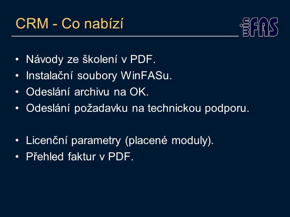 CRM - Co nabízí Návody ze školení v PDF. Instalační soubory WinFASu.