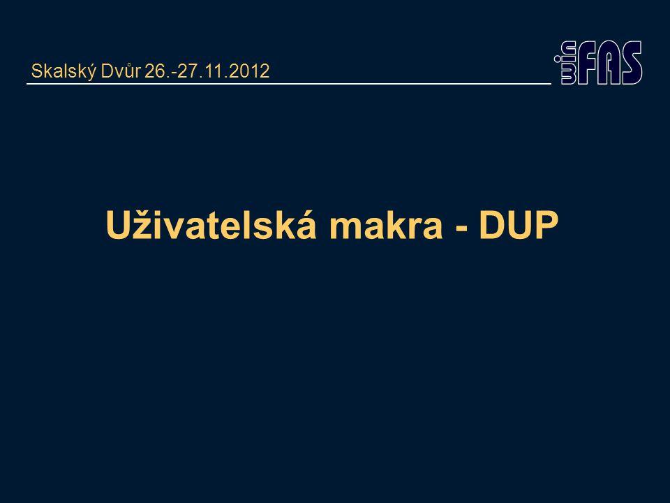 Uživatelská makra - DUP