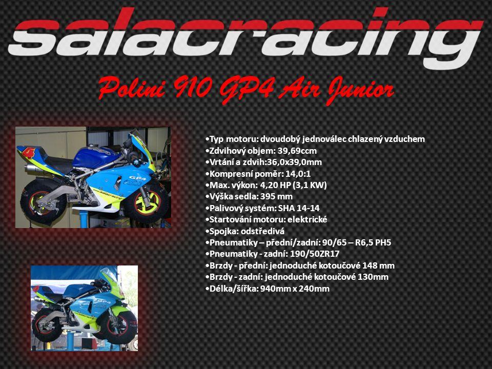 Polini 910 GP4 Air Junior Typ motoru: dvoudobý jednoválec chlazený vzduchem. Zdvihový objem: 39,69ccm.