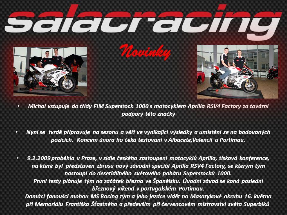 Novinky Michal vstupuje do třídy FIM Superstock 1000 s motocyklem Aprilia RSV4 Factory za tovární podpory této značky.