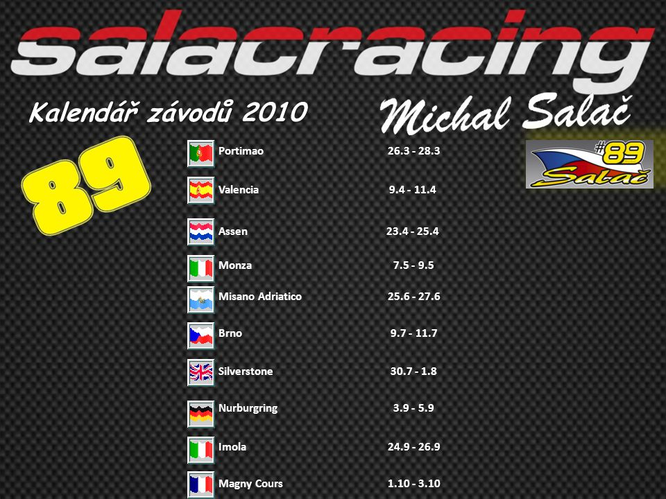 Kalendář závodů 2010 Portimao 26.3 - 28.3 Valencia 9.4 - 11.4 Assen