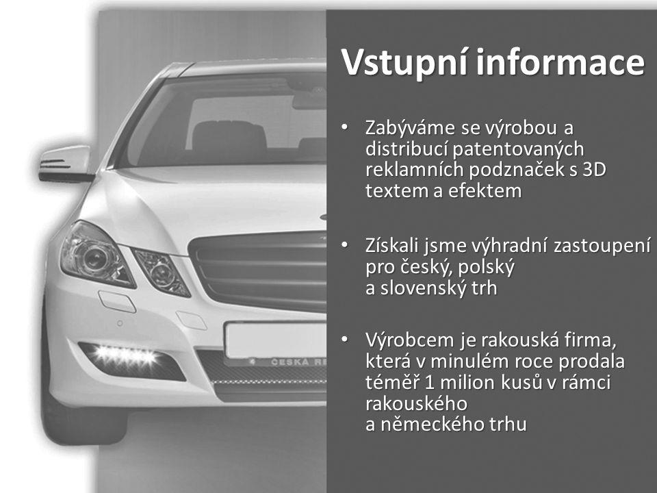 Vstupní informace Zabýváme se výrobou a distribucí patentovaných reklamních podznaček s 3D textem a efektem.