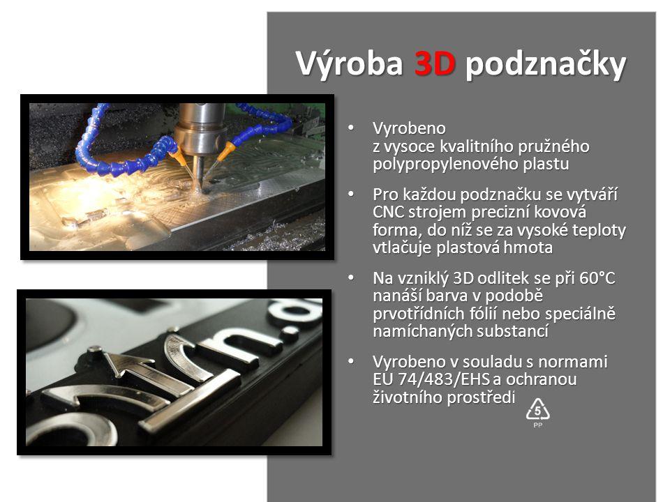 Výroba 3D podznačky Vyrobeno z vysoce kvalitního pružného polypropylenového plastu.