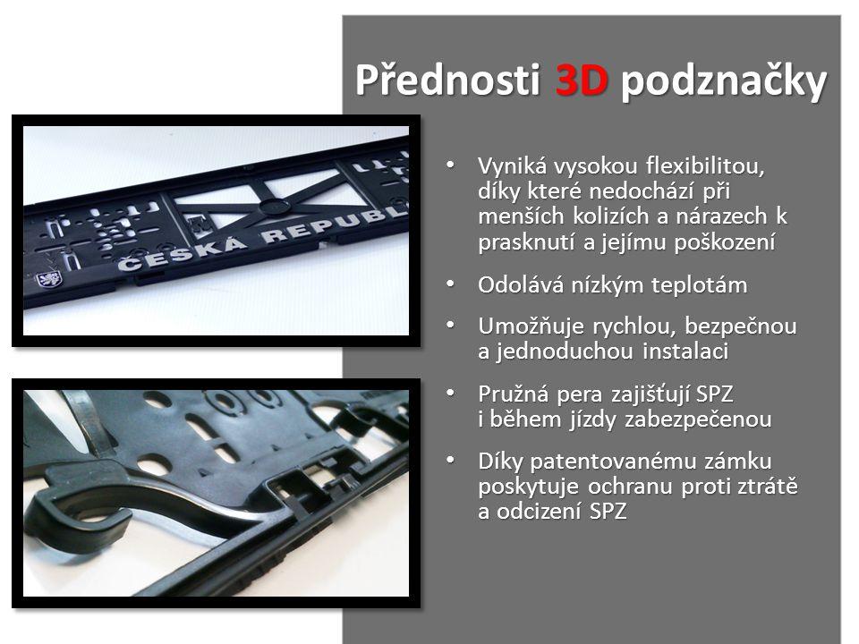 Přednosti 3D podznačky Vyniká vysokou flexibilitou, díky které nedochází při menších kolizích a nárazech k prasknutí a jejímu poškození.