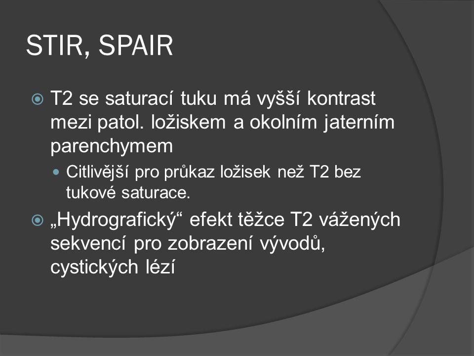 STIR, SPAIR T2 se saturací tuku má vyšší kontrast mezi patol. ložiskem a okolním jaterním parenchymem.