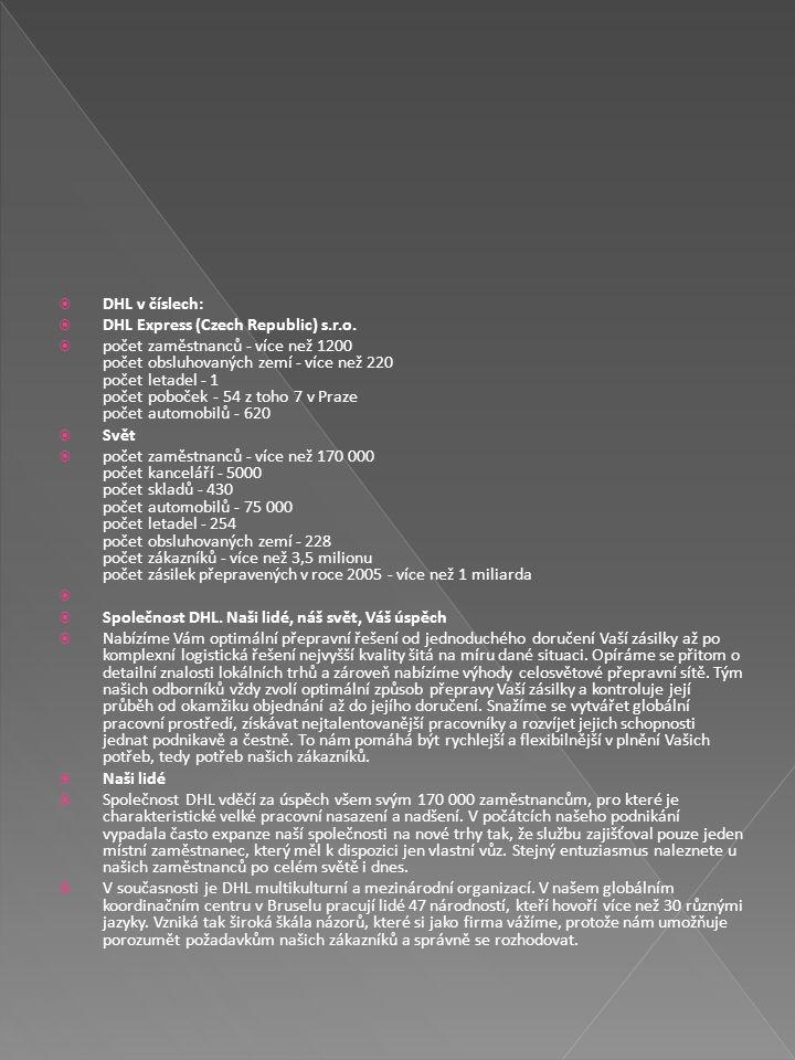 DHL v číslech: DHL Express (Czech Republic) s.r.o.