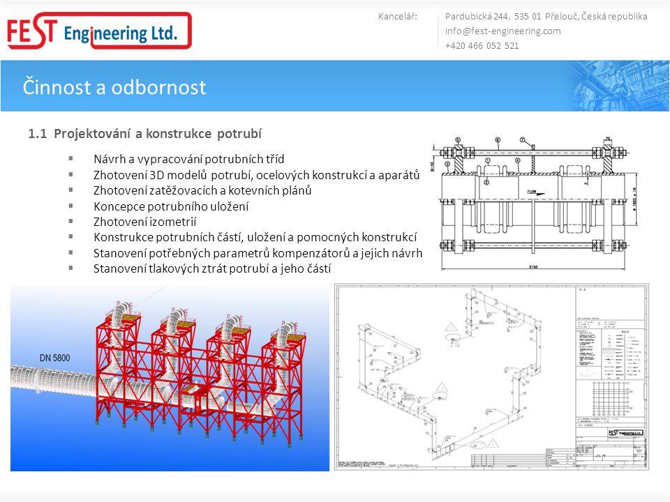 Činnost a odbornost 1.1 Projektování a konstrukce potrubí