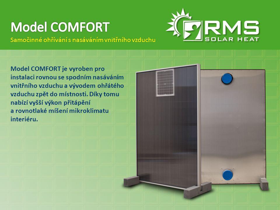 Model COMFORT Samočinné ohřívání s nasáváním vnitřního vzduchu