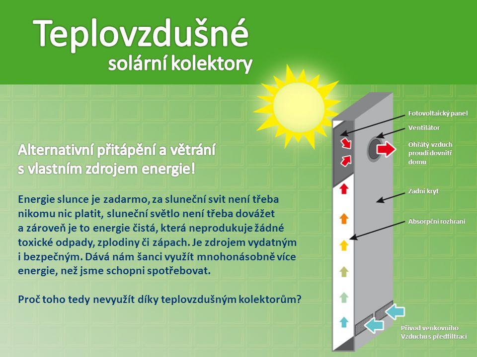 Teplovzdušné solární kolektory Alternativní přitápění a větrání
