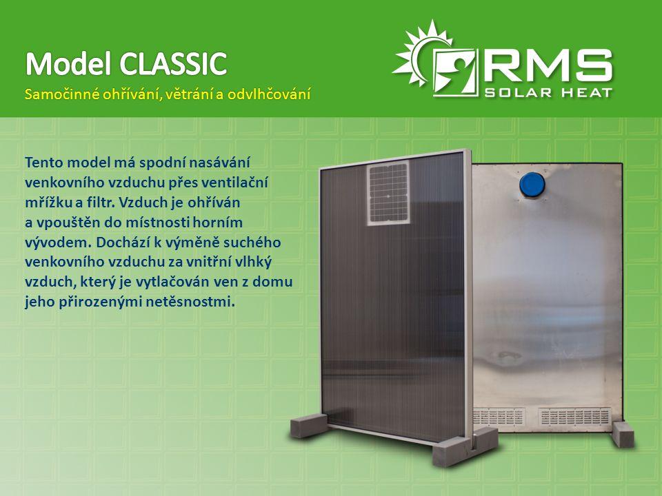 Model CLASSIC Samočinné ohřívání, větrání a odvlhčování
