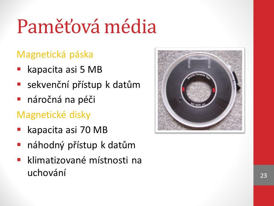 Paměťová média Magnetická páska kapacita asi 5 MB