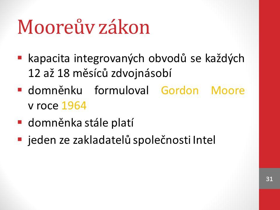 Mooreův zákon kapacita integrovaných obvodů se každých 12 až 18 měsíců zdvojnásobí. domněnku formuloval Gordon Moore v roce 1964.