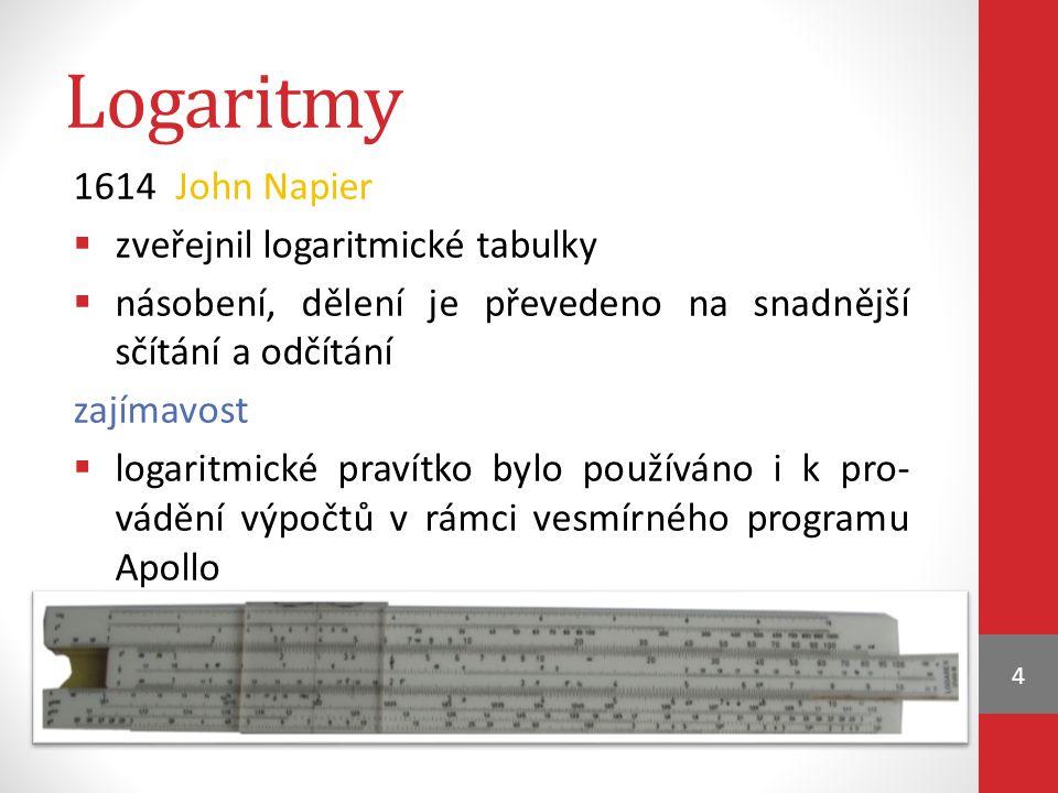 Logaritmy 1614 John Napier zveřejnil logaritmické tabulky