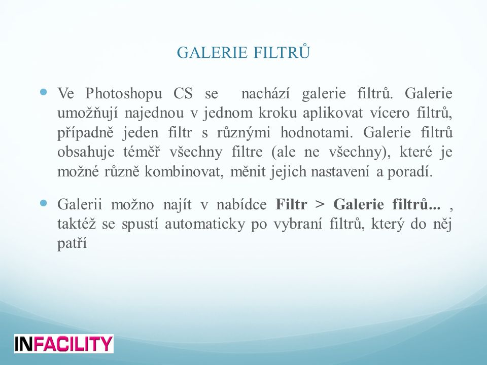 GALERIE FILTRŮ