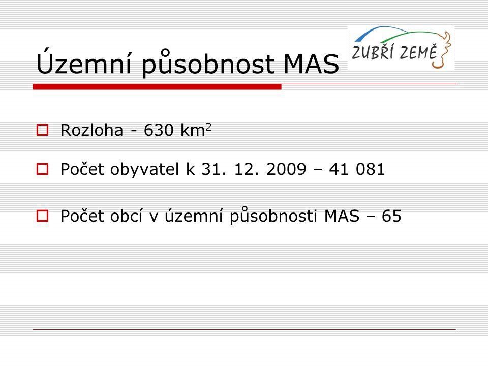 Územní působnost MAS Rozloha - 630 km2