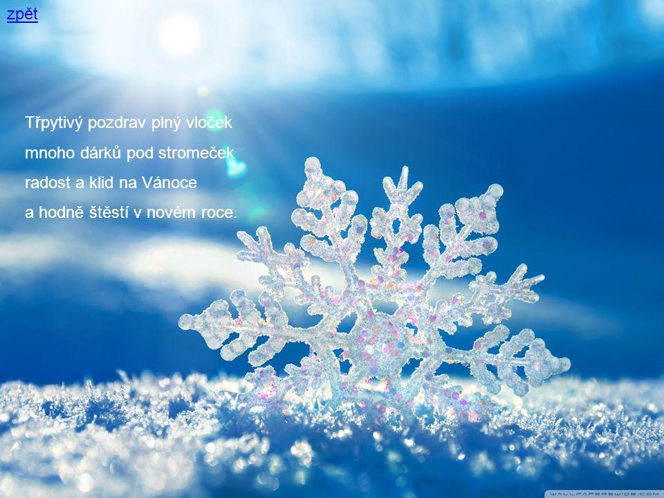 zpět Třpytivý pozdrav plný vloček mnoho dárků pod stromeček radost a klid na Vánoce a hodně štěstí v novém roce.