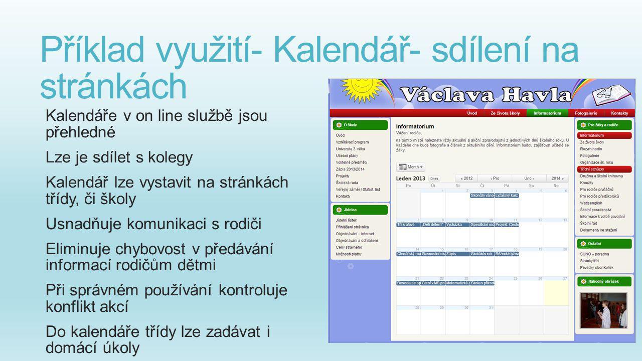 Příklad využití- Kalendář- sdílení na stránkách