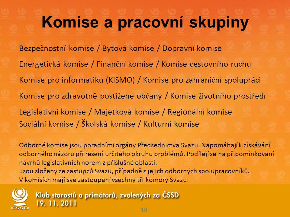 Komise a pracovní skupiny