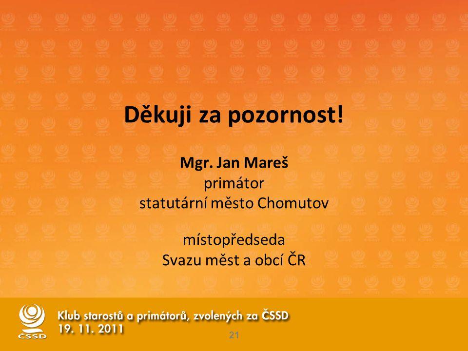 Děkuji za pozornost! Mgr. Jan Mareš primátor statutární město Chomutov