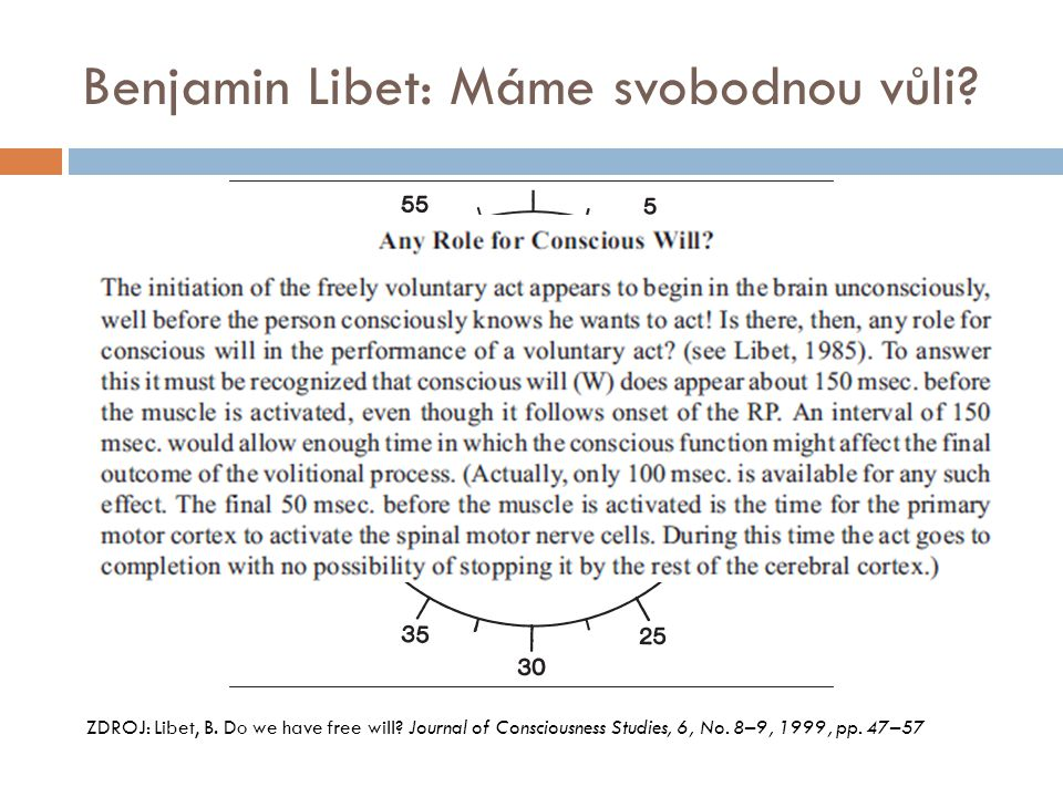Benjamin Libet: Máme svobodnou vůli