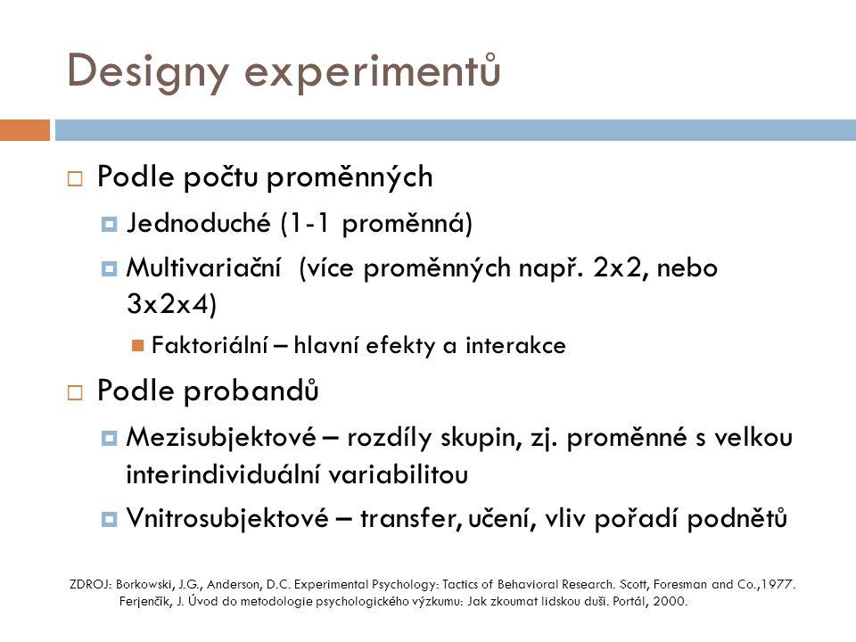 Designy experimentů Podle počtu proměnných Podle probandů