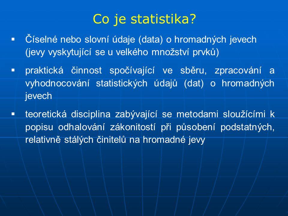 Co je statistika Číselné nebo slovní údaje (data) o hromadných jevech (jevy vyskytující se u velkého množství prvků)