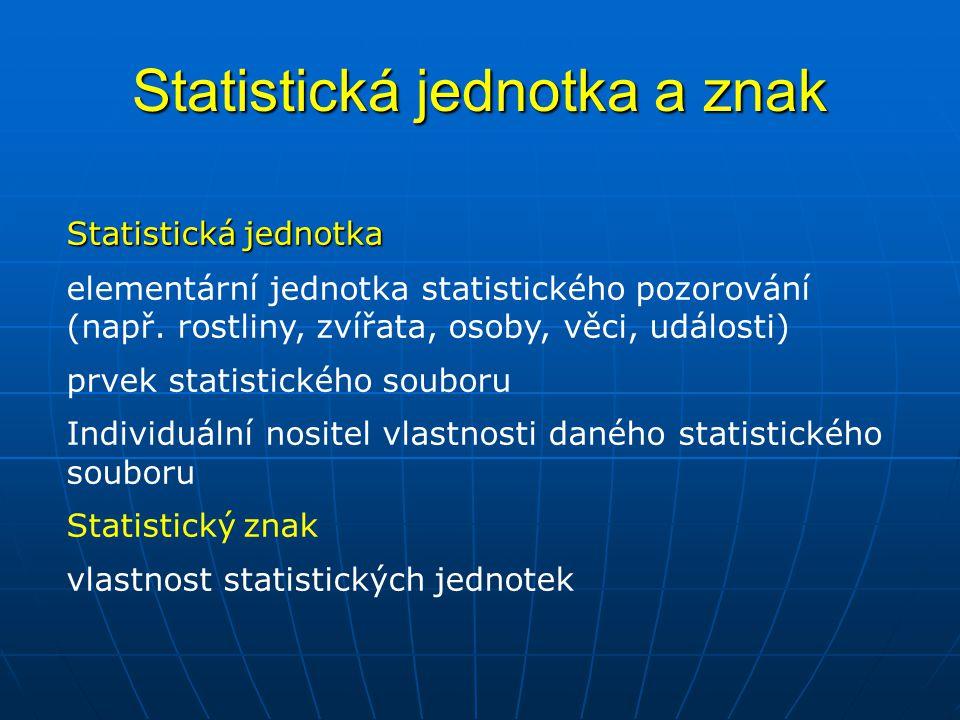 Statistická jednotka a znak