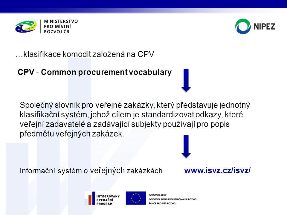 …klasifikace komodit založená na CPV
