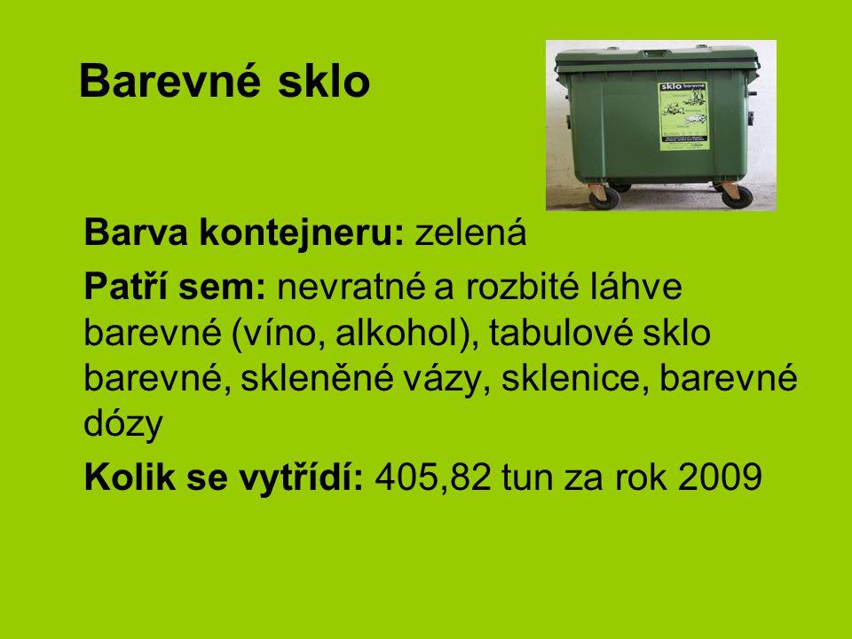 Barevné sklo Barva kontejneru: zelená