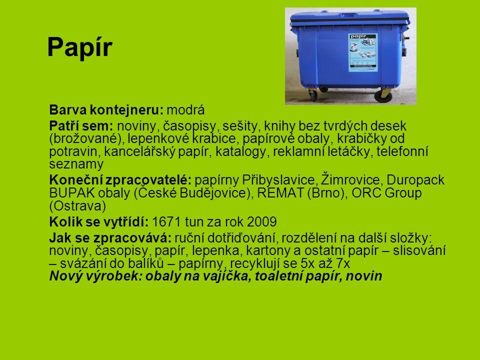 Papír Barva kontejneru: modrá