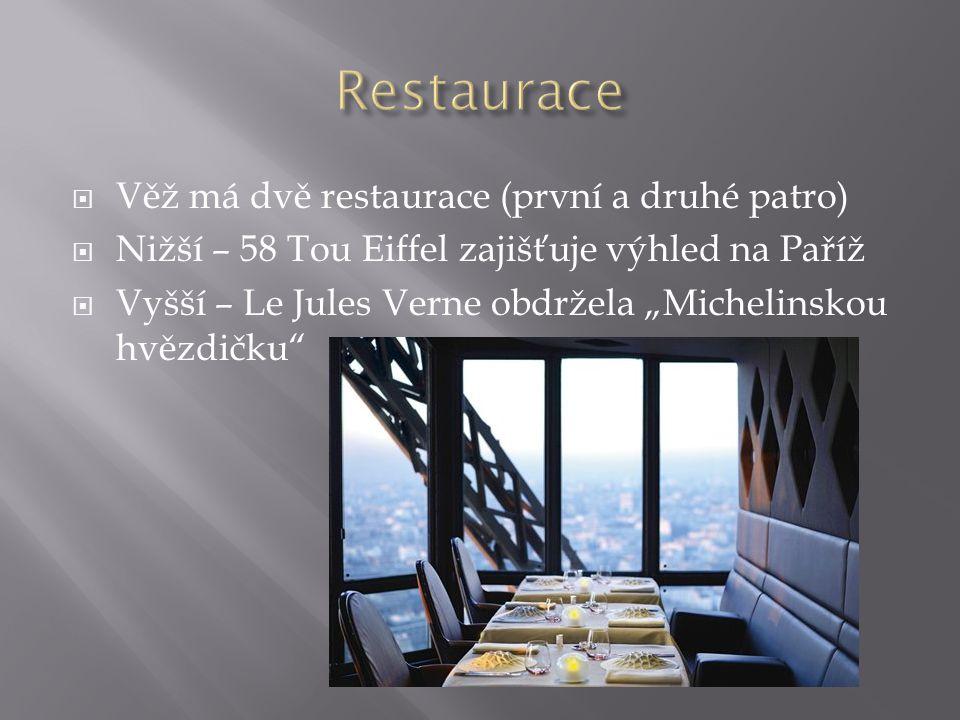 Restaurace Věž má dvě restaurace (první a druhé patro)